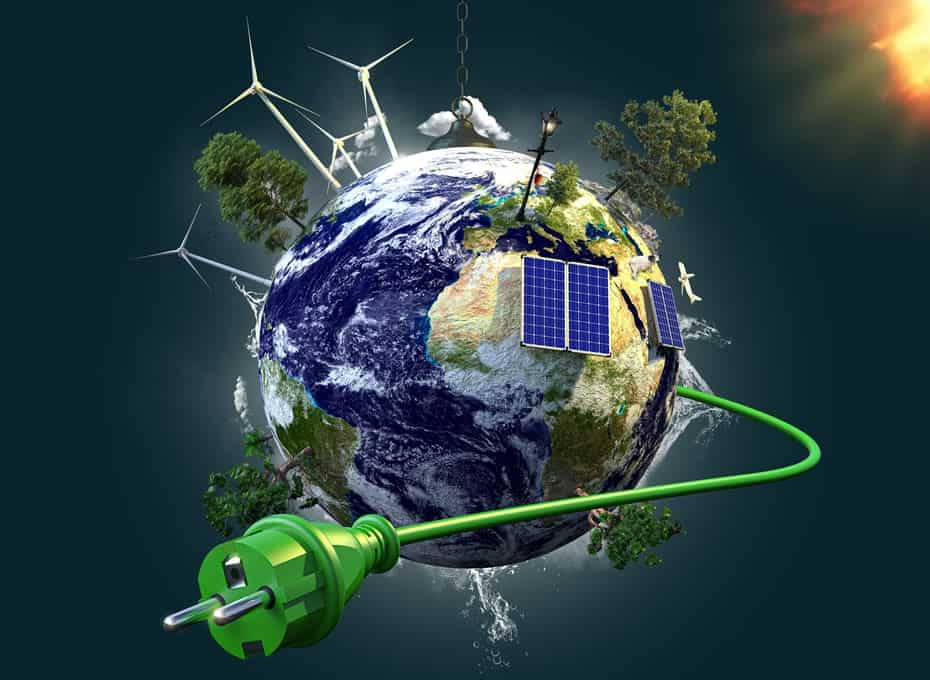 Repowering (image of various forms of energy generation on Earth)