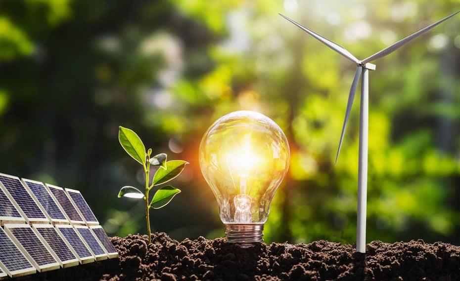 Emerging Technologies (image of solar panel and wind turbine)